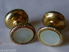 ANCIEN BIJOU de chemise BOUTONS de MANCHETTE nacre métal doré CUFFLINKS A9
