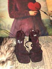 CATHY JEAN Sweet Burgundy Metallic Sandals Size 5 1/2 M