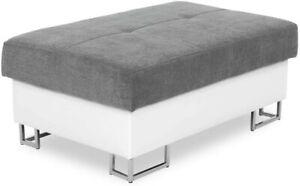 Sofa Anton- L Shape Corner Sofa Bed +Storage - Leather/Fabric - Black,White/Grey