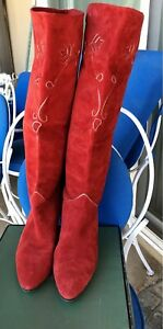 Vintage Maud Frizon Red suede gold embossed boots 39