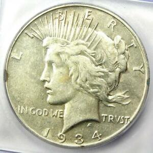 1934-S Peace Silver Dollar $1 Coin - Certified ICG XF40 (EF40) - Rare Date!