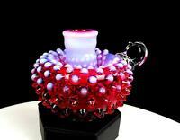 "FENTON ART GLASS OPALESCENT CRANBERRY HOBNAIL HANDLED 3 5/8"" CANDLE HOLDER 1960s"