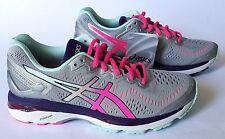 Asics Womens Size 8, Gel-Kayano 23 Silver/Pink Glow/Parachute Purple T696N-9320