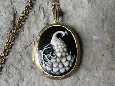BRONZE LOCKET - PEACOCK CAMEO (HAND PAINTED) LOCKET- BLACK - QUALITY - PEAFOWL