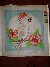 MARY LOU - Needlepoint Canvas - PARROT - Handpainted