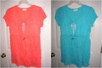new WOMENS shirt size 1x2x short sleeve long top plus TUNIC orange/melon aqua T8