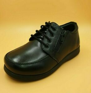 Boys black Leather School Shoes Lace up with side zip size 1 to 13