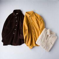 Men Retro Solid Corduroy Cord Shirt Casual Harajuku Loose Top Long Sleeve Cosy