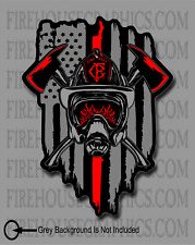 American Flag Thin Red line Firefighter Halligan Axe Helmet Cross Decal Sticker