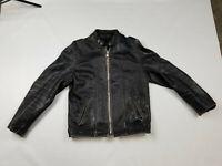 Vintage Schott Cafe Racer Motorcycle Leather Jacket Black Medium Distressed