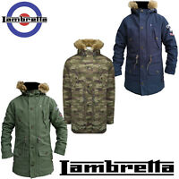 Lambretta Parka Coat Mens Fishtail Warm Lined Fleece Hooded MOD Padded UK S-4XL