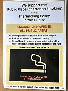 """"""" RARE"""" SMOKING ALLOWED !! Pub Home Bar Sign,Man Cave. AUG 2000."""