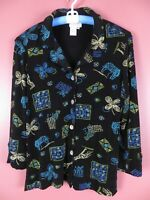 STK1939- COLDWATER CREEK Womens Slinky Knit Collared Jacket Multi-Color Sz M