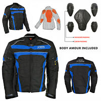 Motorbike Motorcycle Jacket Waterproof textile Biker Armoured CE Cordura Blue