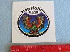 BEER Collectible STICKER ~ HOP NATION Brewing Co ~ Yakima, WASHINGTON Breweriana