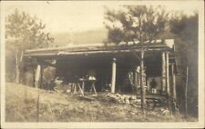 Log Home/Porch - Blue Mountain KY Cancel 1917 Real Photo Postcard spg