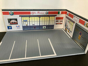1/43 Diorama Garage Alfa Romeo TBE artisanal sans voiture pour 4/6 voitures