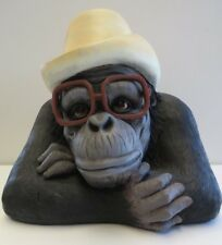 CHEEKY MONKEY WITH GLASSES AND HAT ANIMAL GARDEN STATUE ORNAMENT FIGURINE LARGE