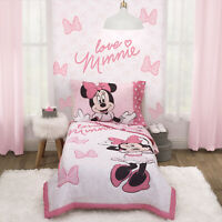 Disney Minnie Mouse 4 Piece Toddler Bedding Set ( Pink ) BRAND NEW SEALED