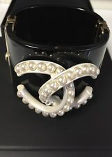Auth. Chanel Black White Pearl Cuff Bracelet