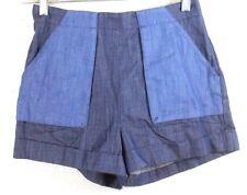 BCBG Womens Shorts size 0 Blue Rinsed Denim Color Block