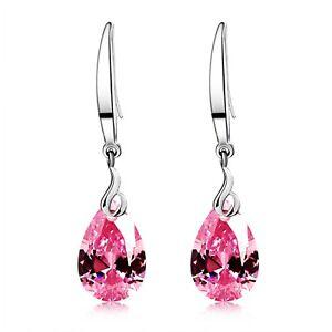 Dangle Earring 925 Silver 12mm Pear Shape Swarovski Element Crystal Drop Earring