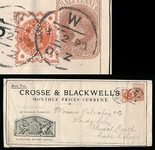 GB QV NEWSPAPER WRAPPER STATIONERY CROSSE + BLACKWELL + PERFIN to CAPE S.AFRICA