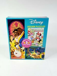 DISNEY Mickey Minnie BEAUTY AND THE BEAST Jigsaw PUZZLE 3 in 1 Plus PUZZLE Glue