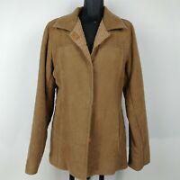 Katies Tan Snap Front Collared Coat Jacket Fleece Lined Womens Size S