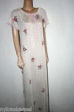 Schiesser Original 70er Jahre Diolen Neglige Nachthemd Gr. 40 Weiß lang Retro