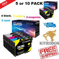 5-10 PACK 4 BLACK EPSON 252XL WF-7710 WF-7720 WORKFORCE INK CARTRIDGES UniWORK