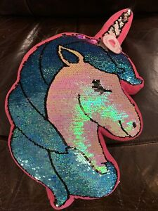 JUSTICE Reversible Sequin Unicorn Flip PILLOW, Pink Teal White NWT