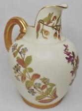 1 of 2 ANTIQUE ROYAL WORCESTER BLUSH IVORY FLORAL FLAT BACK JUG EWER PITCHER