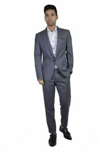Dsquared2 Men's 100% Virgin Wool Gray Striped One Button Suit US 38 IT 48