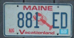 MAINE VINTAGE 1999 license plate 881 ED  Eddie Edmund Edgar Eduardo Edward