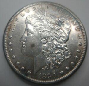 1890-CC Morgan Silver Dollar VAM4 Tailbar AU About Uncirculated almost MS Detail