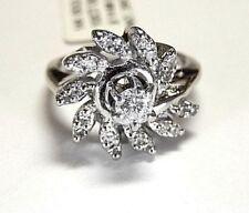 14K White Gold .50CT Natural VS Diamond Engagement Halo Swirl  Ring Size 4