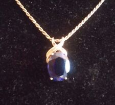Beautiful Dark Blue Simulated Sapphire  14K Yellow Gold Pendant/necklace((168))