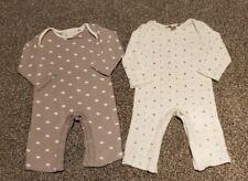 The Little White Company Sleepsuit/ Babygrow grey white newborn unisex twins