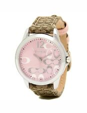 Coach Women's Watch Brown Leather Silver SS pink Glitz Classic 14501621 $195