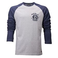 Mens Republic Long Sleeve Grey Cotton & Polyester  Casual Tee ~ Top ~ T.Shirt