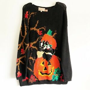 Lauren Hansen HALLOWEEN Cat Pumpkin Sweater Size Large Hand Knit Vintage GUC