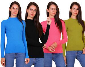 Maglioncino maglia donna pull collo camino misto lana cachemire nuovo