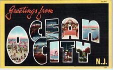 OCEAN CITY, NJ New Jersey   LARGE LETTER LINEN  c1940s   Postcard