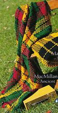 SCOTTISH TARTAN RUG 'MacMillan' AFGHAN CROCHET PATTERN in 8ply WOOL Craft