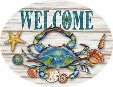 Blue Crab Welcome PVC Indoor Outdoor Sign Coastal Beach Decor