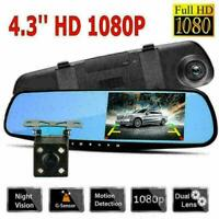"4.3"" Dual Lens HD 1080P Car DVR Rearview Mirror Camera New Dash R6U4 P Cam R8L5"