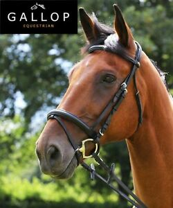 Gallop Leather Padded Comfort Bridle Crank Noseband/Rubber Reins Black Brown