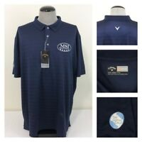 NWT Callaway Mens 3XL Wicking Blue Golf Polo Spell Out Logo UPF15 Fairway Shirt