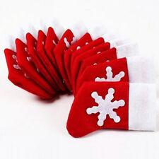 12Pcs Weihnachtsmann Socken Halter Dinner Tisch Besteck Silberware Tasche